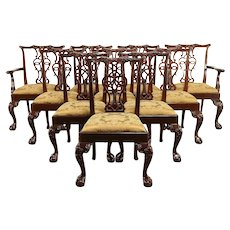 Baker Signed Set 10 Vintage Georgian Chippendale Mahogany Dining Chairs #30869