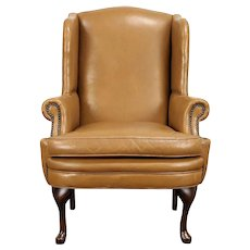 Traditional Leather Vintage Wing Chair with Nailheads, North Carolina #30873