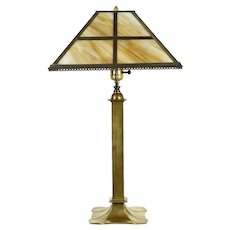 Craftsman Period Antique Brass Table Lamp, Stained Glass Shade #30876