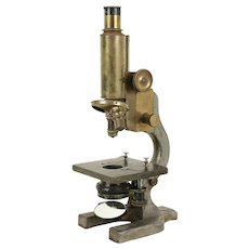 Victorian Brass & Iron Antique English Microscope, Hawksley London #30886