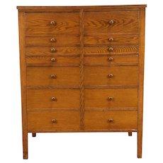 Oak 14 Drawer 1930 Vintage Lab File Cabinet, Includes 4x6 Files #30889