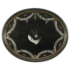 Victorian Antique Paper Mache & Pearl Tray with Hand Painted Dog #30899