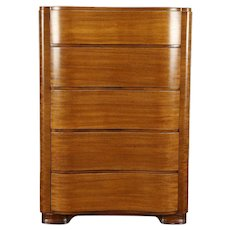 Midcentury Modern 1950 Vintage Wave Front Mahogany Tall Chest, Joerns #30903
