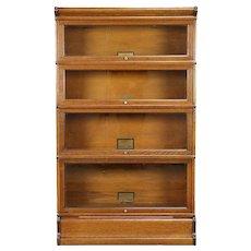 Oak Antique 4 Stack Lawyer Bookcase, Signed Globe Wernicke, Wavy Glass #30911