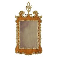 Vintage Carved Mahogany & Gold Wall Mirror, Italy B #30916