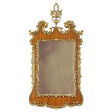 Vintage Carved Mahogany & Gold Wall Mirror, Italy B #30916