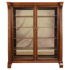Empire Antique Mahogany Bookcase or Curio Cabinet, Glass Doors, Mirrors #30921