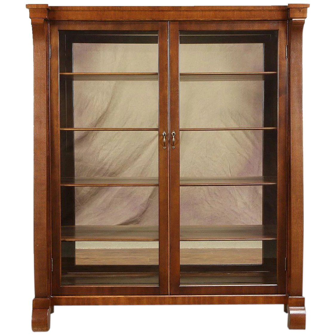Empire Antique Mahogany Bookcase Or Curio Cabinet Glass Doors Harp Gallery Antique Furniture Ruby Lane