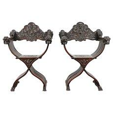 Walnut 1890 Antique Pair of Italian Savonarola Chairs, Carved Lion Heads  #30927