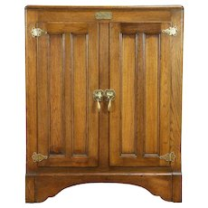 Oak Antique Icebox Kitchen Pantry Cabinet, White Clad, St. Louis #30928