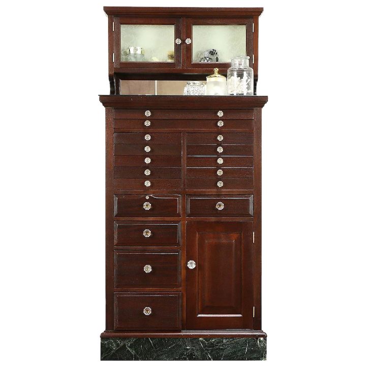 Dental, Jewelry, Collector Antique Dentist Cabinet, Mahogany, Marble : Harp  Gallery Antique Furniture   Ruby Lane