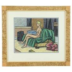 Nude w/ Red Robe Study, Original Oil Pastel Painting Custom Frame, Bodden #30946
