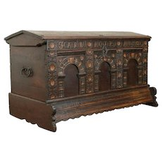 Oak Carved Antique German Dowry Trunk Blanket Chest, Signed Richters 1802 #30969