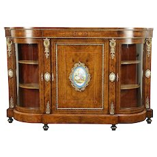 Burl China Display or Hall Console Cabinet, Sideboard, Sevres Porcelain 30981