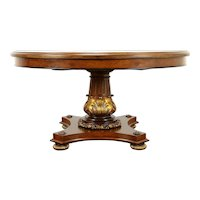 Classical Round 5' Diameter Inlaid Hall Center or Dining Table, 2 Leaves #30996
