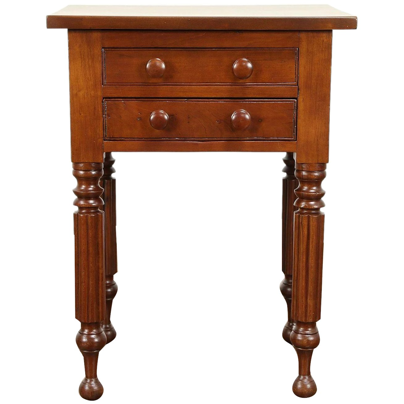 Empire Antique 1820 Cherry Nightstand Or Lamp Table 2 Drawers Ohio 31014