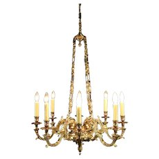 French Cast Solid Bronze 8 Candle Antique Chandelier #31089