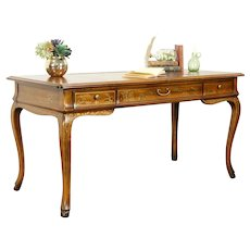 Carved Fruitwood Vintage Library Desk, Hand Painted, Leather Top, Drexel #31113