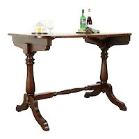 Tall Antique Casino Game Table, Kitchen Island, Wine & Cheese Table #31114