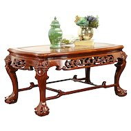 Chinese Rosewood Vintage Coffee Table, Pearl Inlay, Carved Temple Lions #31120