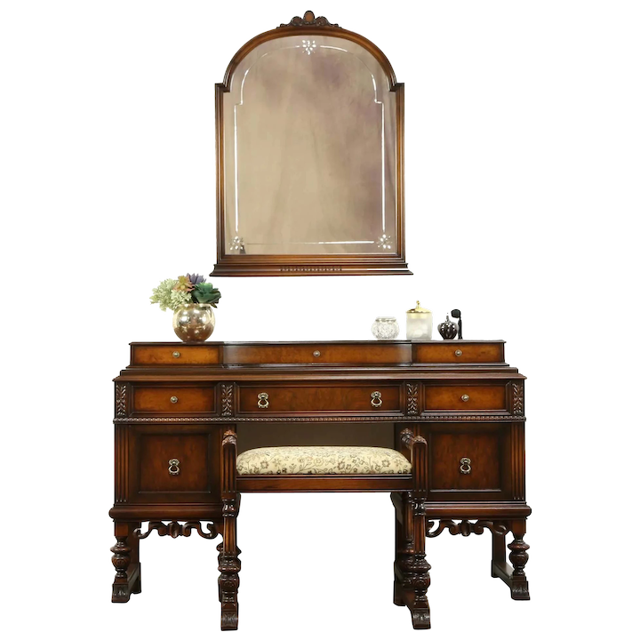 English Tudor Style Antique 1920 Walnut Dressing Table Bench Mirror 31131