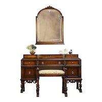 English Tudor Style Antique 1920 Walnut Dressing Table, Bench & Mirror #31131
