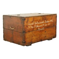Pine Scandinavian Antique Immigrant Trunk or Coffee Table, Signed 1868 #31134