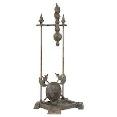 Victorian Cast Iron Antique Fireplace Tool Holder, Lion Head & Shields #31146