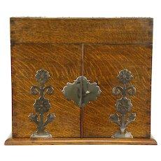 Victorian Oak Antique Liquor & Cigar Case Bar Cabinet, 4 Cut Decanters #31147
