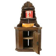 Dutch Oak 1750 Antique Hanging Corner Cupboard, Tobacco Cabinet #31170