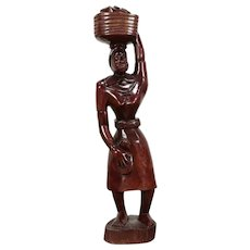 "Statue of Woman Carrying a Basket, Haiti 1962, John Gaule, 39"" Sculpture #31171"