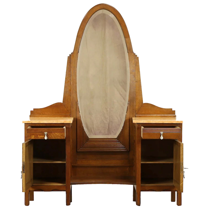 Oak French Art Deco Antique Vanity Or Dressing Table Beveled Mirror 31174