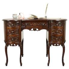 Carved Walnut Kidney Shape 1930 Vintage Desk #31188