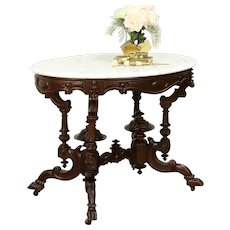 Victorian Antique 1850's Oval Marble Top Parlor, Hall or Lamp Table #31201