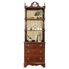 Traditional Mahogany Vintage Etagere, Book Shelf, or Bath Towel Cabinet #31202