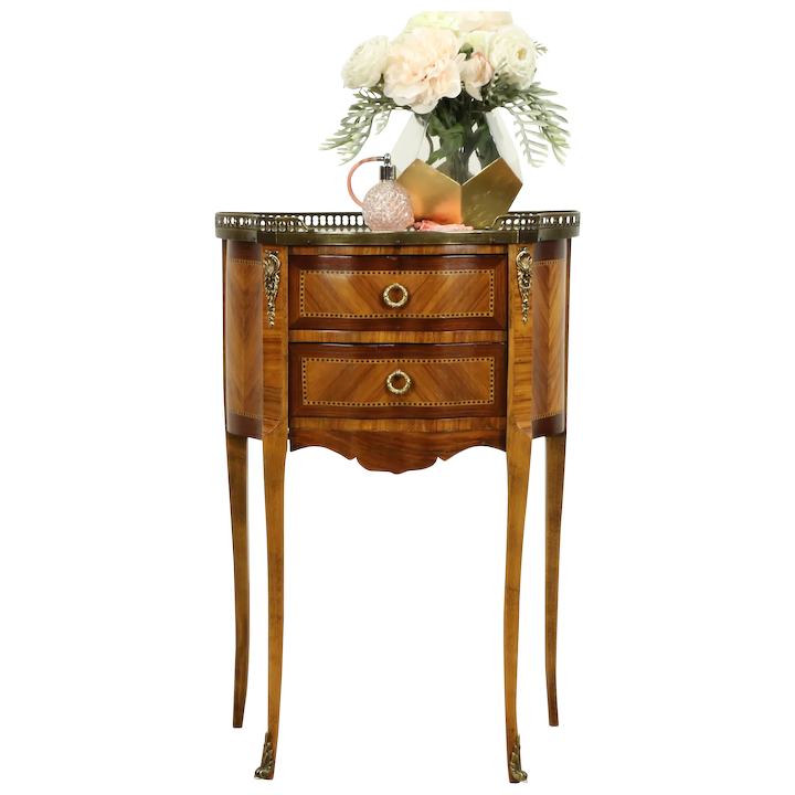 French Marble Top Antique Rosewood Marquetry Nightstand Or End Table 31203