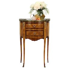 French Marble Top Antique Rosewood Marquetry Nightstand or End Table #31203
