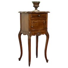 French Antique Hand Carved Walnut Nightstand, Marble Top #31204