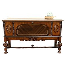 Tudor Style Antique Walnut & Cedar Trunk or Blanket Chest, Secret Drawer #31214