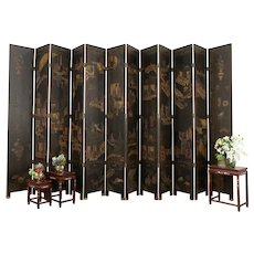 Chinese Antique 12 Panel Hand Painted Large Coromandel Screen, 16'  #31218