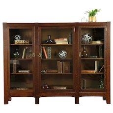 Arts & Crafts Mission Oak Antique Triple Craftsman Library Bookcase #31222