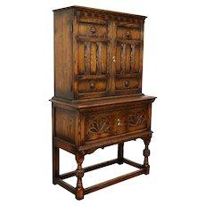 Oak English Tudor Antique 1920 China or Bar Cabinet, Bernhardt #31224