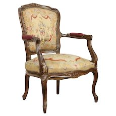 French 1920 Antique Carved Chair, Needlepoint & Petit Point Upholstery #31226