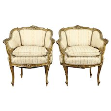 Pair of French Rococo Antique 1900 Carved & Gilt Chairs, Down Cushions #31227