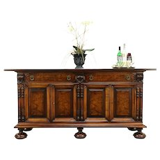 Renaissance Antique Carved Walnut Sideboard, Server or Buffet, Colby #31236