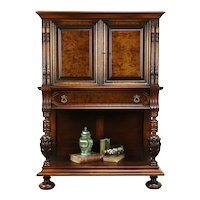 Renaissance Antique Carved Walnut Sideboard China or Bar Cabinet, Colby #31237