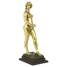 Bronze Antique Nude French Gold Sculpture, Signed Charpentier #31242