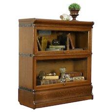 Oak Quarter Sawn Antique 2 Stack Lawyer Bookcase, Signed Macey #31248