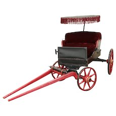 Child Size Antique Goat or Dog Cart, Photographer Prop, Wood Spoke Wheels #31249