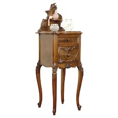 French Antique Hand Carved Walnut Nightstand, Red Marble #31256